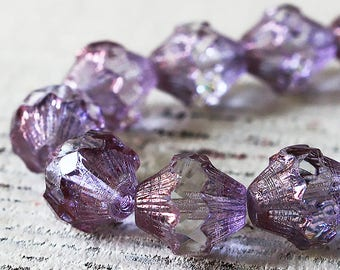 11x10mm Baroque Bicone Beads - Czech Glass Beads - Jewelry Making Supply - Large Transparent Lavender - Bicone Lantern - 10 beads