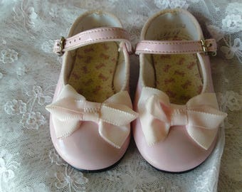 Pink Mary Janes Baby/Toddler Shoes, Patent Leather with Lace Anklets, Vintage Shoes, Girl's Shoes