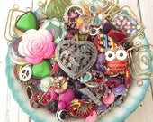 Mega Jewelry Destash Lot - 3 Pounds Vintage Modern Jewelry - Upcycle - Bright Colors - Shabby Chic - Pink - Owl - Charms - Heart - G4
