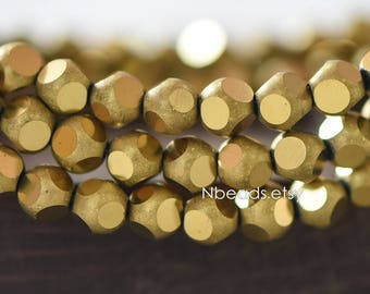 Frosted Faceted Round Crystal Glass beads 6mm, Matte Metallic Brass/ Gold (GM023-8)/ 100 beads