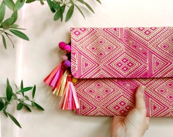 Tassel Clutch, Pink Clutch Purse, Raffia Tassel Bag, Boho Pom Pom Clutch, Raffia Clutch, Beach Fashion