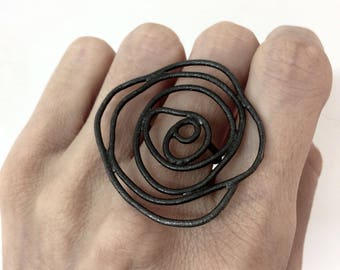 silver statement ring, black silver ring, black rose ring, black flower ring, rose statement ring, rhodium plated ring