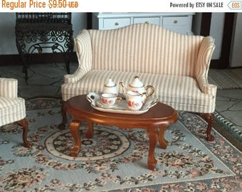 SALE Miniature Oval Coffee Table, Walnut Wood Table, Style 6858, Dollhouse Miniature, 1:12 Scale, Dollhouse Furniture, Miniature Table