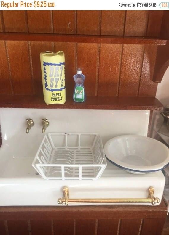 ON SALE Miniature Dish Washing Set, Includes Dish Drain, Dish Soap Bottle, Enamel Pan & Paper Towel Roll, Dollhouse 1:12 Scale Miniatures, 4
