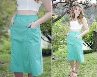 High Waisted Skirt - Pencil Skirt - Midi Skirt - Skirt with Pockets - Boho Skirt - Vintage Skirt - Mermaid Skirt - Solid Skirt