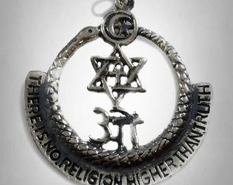 THERE is no RELIGION higher than TRUTH solid sterling silver 925 pendant art