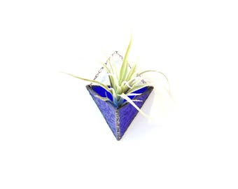 Stained glass air plant holder, airplant holder, bright sapphire blue glass, hanging wall planter triangle geometric terrarium indoor garden