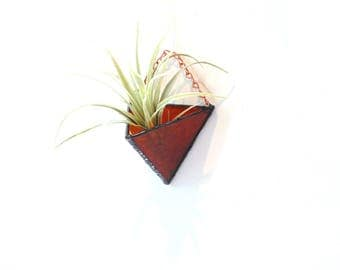 Airplant holder, dark orange stained glass, hanging planter, air plant wall vase, airplant terrarium, tillandsia airplanter, wall planter