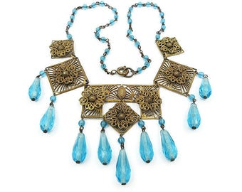 Art Deco Necklace, Czech Necklace, Aquamarine Glass, Fringe, Gold Filigree, Czechoslovakia, Art Deco Jewelry, Antique Jewelry