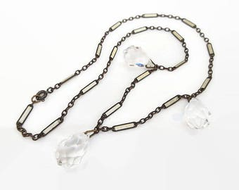 Art Deco Crystal Teardrop Necklace, White Enamel Chain, Faceted Crystal, Bride Wedding, Vintage Necklace, Art Deco Jewelry