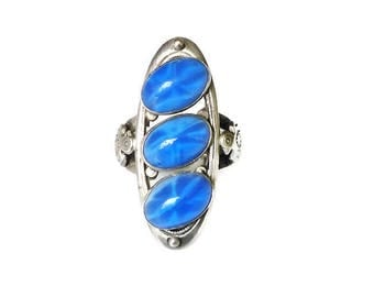 Native American Star Sapphire Sterling Ring - Eagle Symbol, Blue Glass, Silver Ring, Southwestern, Vintage Ring, Size 6.25 to 6.5
