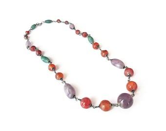Carnelian Jade Amethyst Necklace - Vintage Beads, Gemstone Necklace, Chunky Beads, Single Strand, Vintage Necklace