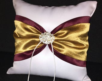 Gold & Wine with Rhinestone Accent White or Ivory  Wedding Ring Bearer Pillow