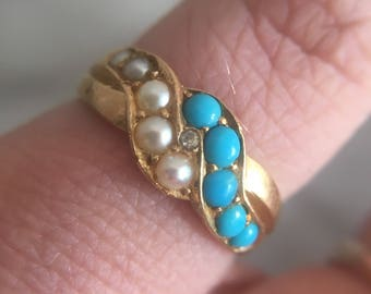 Antique Late Victorian 18k Gold Persian Turquoise Seed Pearl and Diamond Ring from Birmingham, England