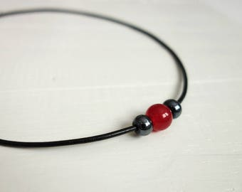 Leather necklace red jade stone black leather cord choker necklace for women
