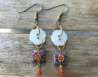 Orange Drops Button Earrings One of A Kind