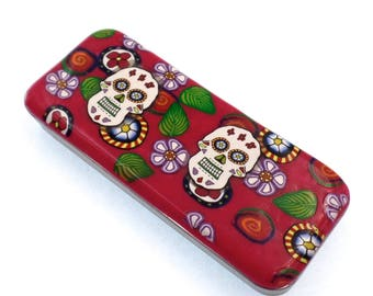 Polymer Clay Magnetic Needle Case, Pill case, Pill Box, Sugar Skull, Day of the Dead