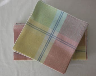 Cloth Table Napkins in Gingham Pastels and Stripes of Blue   Sets of 4 and 10
