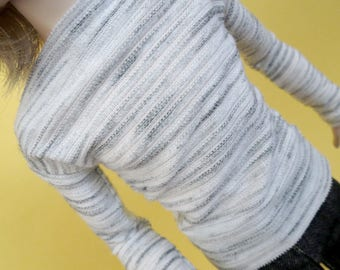 White Gray Stripe Shirt for MSD SD+ Ball Jointed Doll