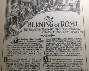 The burning of Rhome . 1933 book page removed ftom a damaged book. Art hostory