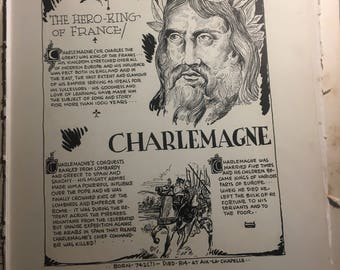 Charlemagne the hero king of France .1933 book page removed ftom a damaged book. Art  history
