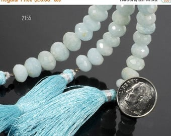 ON SALE Aquamarine Rondelles Rondels Pale Blue Milky Opaque Aquamarine Mined Gemstone - 4-Inch Strand - Your Choice of Size - 7 to 10.5mm