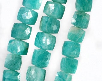 ON SALE Amazonite Beads 3D Cubes Box Beads Faceted Blue Green Amazonite Earth Mined Gemstone - 4-Inches - 7x7 to 8x8mm - About 14 Beads