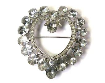HUGE Vintage 1950s Clear Rhinestone Fancy Heart Brooch Pin EXTRA LARGE