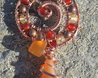 Sacred Spiral///Golden Dream///Carnelian, Citrine, and Copper Wire Wrap Pendant, One of a Kind, Handmade, Art