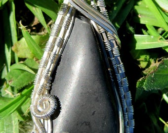 Ancient Healing// Shungite, and Sterling Silver Wire Wrap Pendant, One of a Kind, Handmade, Art
