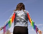 Rainbow Fringe Jacket - White/Black/Denim/Pink