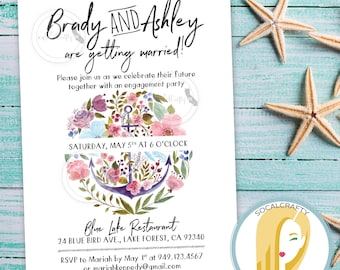 Nautical Engagement Party Invitation, Nautical Bridal Shower Invitation, Anchor Invitation, Beach, DIY, Printed or Printable Invitations