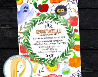 Halloween Invitation, Halloween Party Invitation, Spooktacular Halloween Invitation, Watercolor Ghost, DIY, Printed or Printable Invitations
