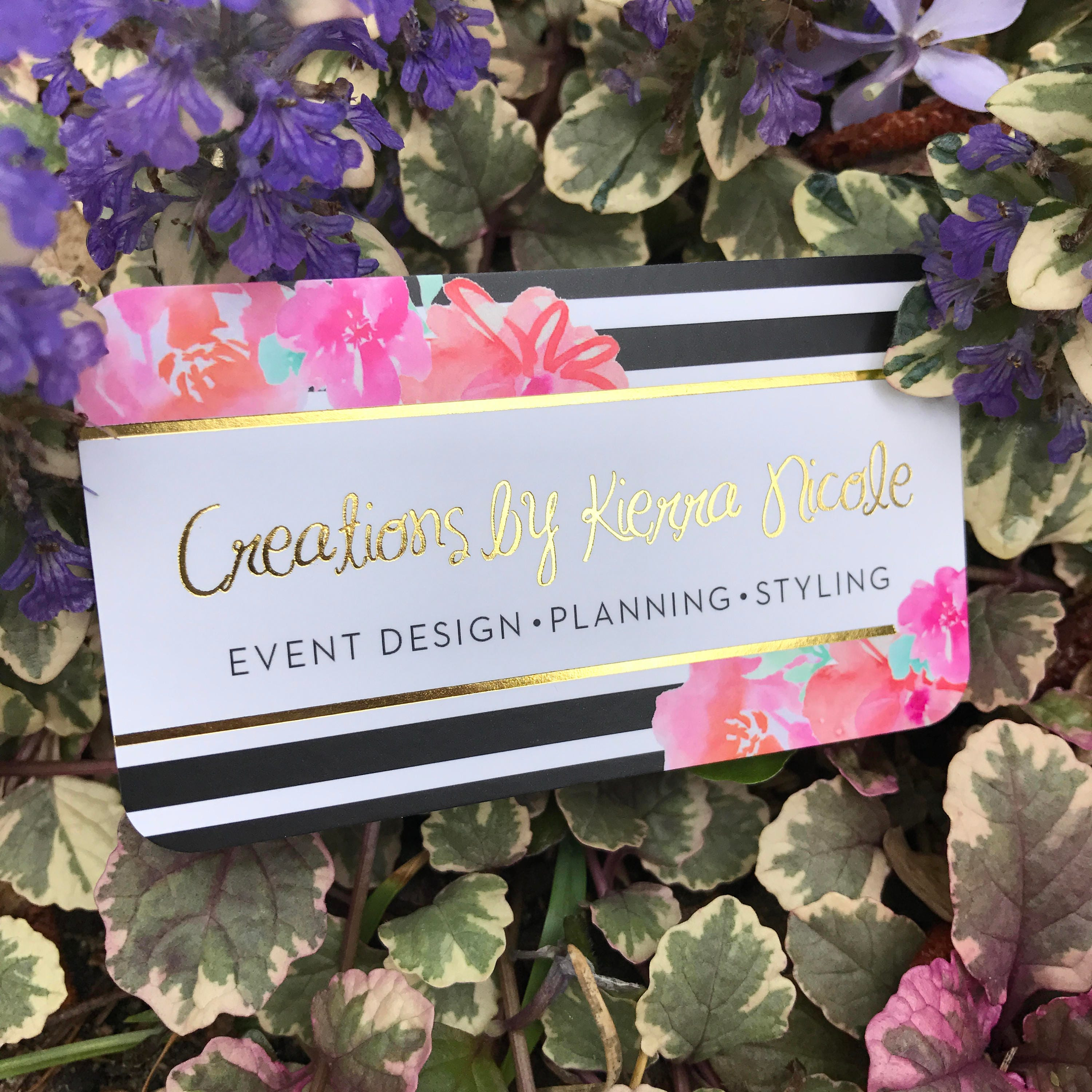 gold foil business cards with silk laminate event planner