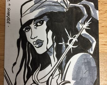 Elektra sketch card by Jack T Cole & Dan Schkade