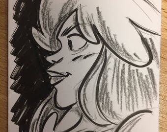 Sketchcard of Val from Table Titans by Scott Kurtz
