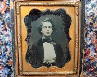 Half Case Ambrotype - Young Man w/ Gorgeous Head of Hair