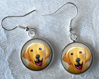 Yellow Lab Drop Earrings ~ Labrador Retriever ~ Dog Earrings ~ Birthday Gift ~ Gifts for Her ~ Dog Lover Gift