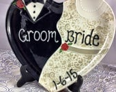 """For Kate Handpainted 11.25"""" x 10.5"""" Heart Shaped Wedding or Anniversary Plate - Choose Names, Colors and Date"""