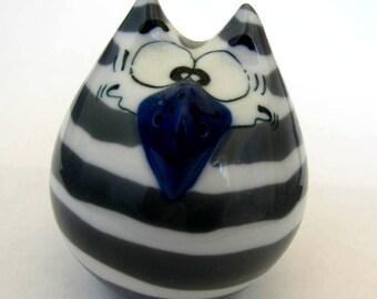 Old New Stock-German Handpainted Porcelain Figural S/P Shaker- Wise Owl Bird