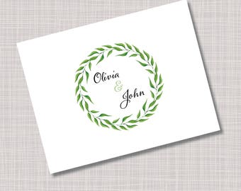 Custom Greenery Floral Wreath Wedding Thank You Note Cards