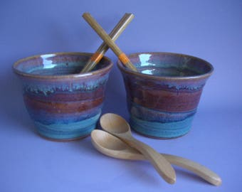 Hand thrown stoneware pottery ramen bowls set of 2 (RB-20)