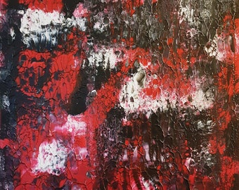 Red Night Abstract on Gallery Canvas