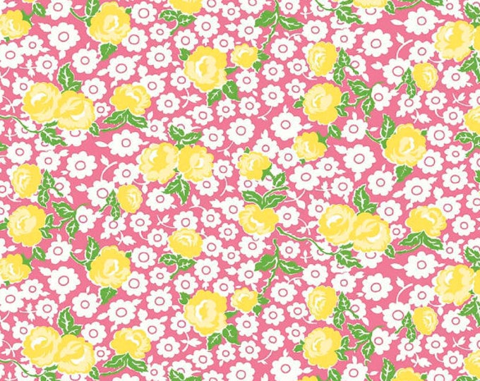 Dainty Darling Fabric by Lindsay Wilkes from The Cottage Mama for Riley Blake Designs and Penny Rose Fabrics - Pink Main Floral