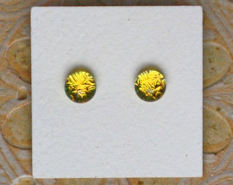 Dichroic Glass Earrings, Petite, Canary Yellow  DGE-1271