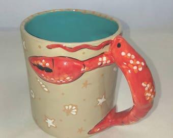MUG, Hand Painted Mug, lobster mug, Ceramic mug, Whimsical Mug, Coffee Mug, Tea Mug,Hot chocolate Mug,Cocoa Mug,Large Mug,Unique Mug,lobster