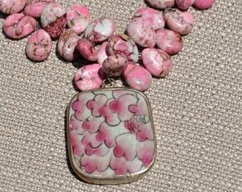 Pink Howlite Teardrops Porcelain Pendant Necklace