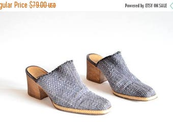 25% off Storewide // Vintage 1990s MARE made in Italy woven leather mules / 7