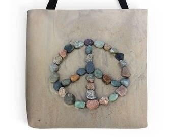 Peace Tote- Beach Bag, Peace Sign, Shopping Bag, Beach Stones, Unique Market Bag, College Student, Book Bag, Rock art, Beach Photo, Yoga Bag