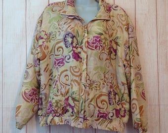 Vintage 90s Silk Quilted Tan Floral Windbreaker Jacker Ladies Medium M